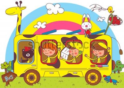 Fototapet Barn på bussresor