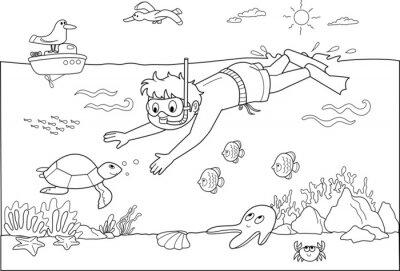 Fototapet Barn simma under vatten med fiskar.