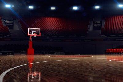 Fototapet Basketplan. Sport arena. 3d bakgrund. unfocus i långskott avstånd