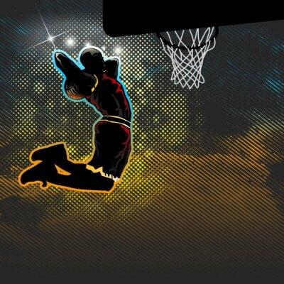 Fototapet Basketspelare går för två handed dunk