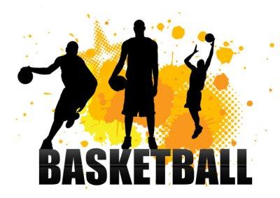 Fototapet basketspelare i handling med grunge bakgrund