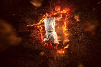 Fototapet Basketspelare on Fire