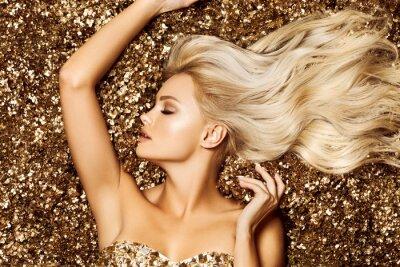 Fototapet Beautiful hair Girl. Healthy Long Hair. Blonde woman in golden flowers garden, princes