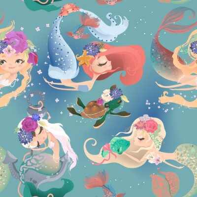 Fototapet Beautiful seamless pattern with cute mermaid girls, princess in floral wreath, bouquets, turtle and fish