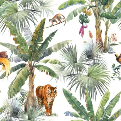 Fototapet Beautiful seamless pattern with watercolor tropical palms and jungle animals tiger, giraffe, leopard. Stock illustration.