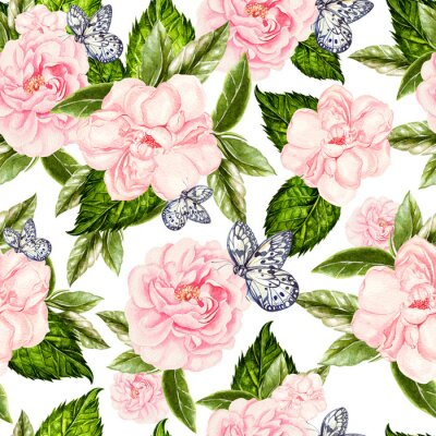 Fototapet Beautiful watercolor seamless pattern with flowers of rose and peony, butterflies.