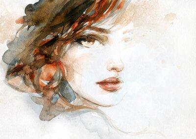 Fototapet beautiful woman. fashion illustration. watercolor painting