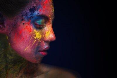 Fototapet Beautiful woman portrait with bright art make-up