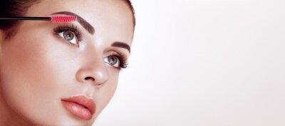 Fototapet Beautiful Woman with Extreme Long False Eyelashes. Eyelash Extensions. Makeup, Cosmetics. Beauty, Skincare