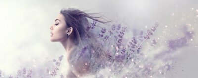 Fototapet Beauty model girl with lavender flowers . Beautiful young brunette woman with flying long hair profile portrait. Fantasy watercolor