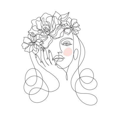 Fototapet Beauty woman face with flowers one line drawing art. Abstract minimal portrait continuous line. Minimalist Orchids flowers in hair Vector illustration