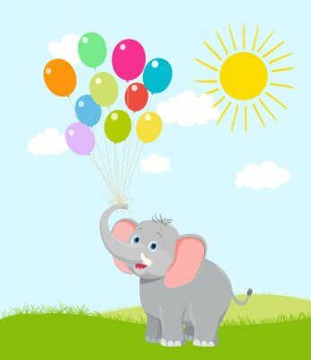 Fototapet bebis elefant med ballonger, moln och solen. vektor tecknad. hap