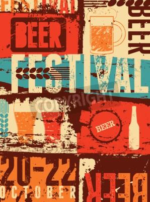 Fototapet Beer Festival tappning utformar grunge affisch. Retro vektor illustration.