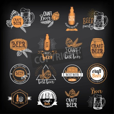 Fototapet Beer märken vektor, alkohol menydesign.