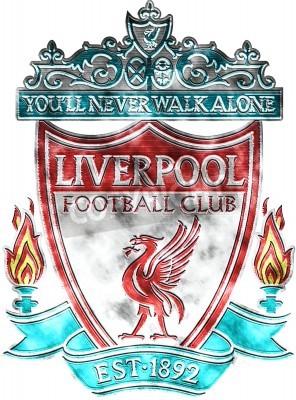 Fototapet Begagnade emblem av FC Liverpool