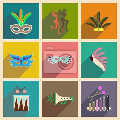 Fototapet Begreppet platta ikoner med lång skugga brasilianska Carnival