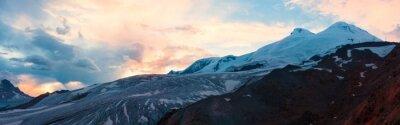 Fototapet Berg solnedgång vinter panorama