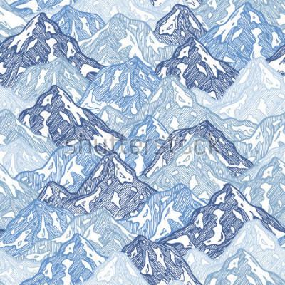 Fototapet Berg sömlöst mönster. Rolig berg abstrakt illustration. Vektorillustration