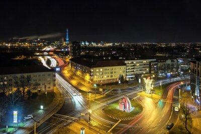 Fototapet Berlin stadslivet på natten
