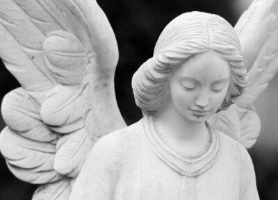 Fototapet bevingad änglalik staty detalj av ansikte och vingar