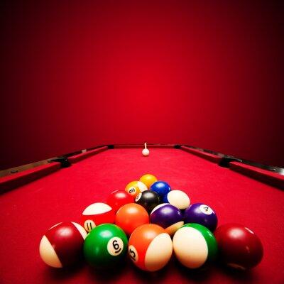 Fototapet Billards poolspel. Färg bollar i triangeln, som syftar till boll