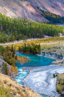 Fototapet blå flod i bergen
