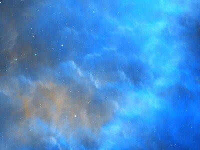 Fototapet Blå glödande nebulosa fraktal