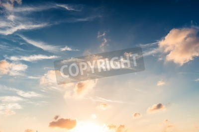 Fototapet Blå himmel i solnedgången