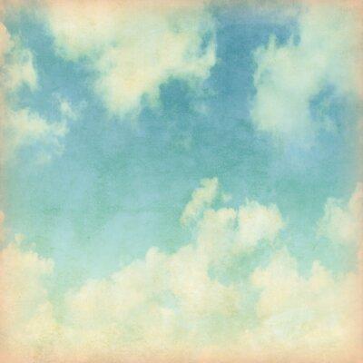 Fototapet Blå himmel med moln i grunge stil.