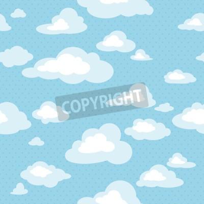Fototapet Blå himmel med moln, vektor sömlöst mönster