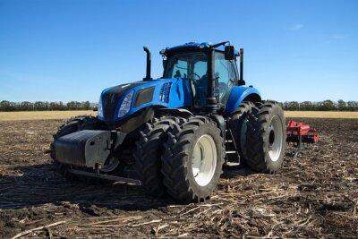 Fototapet Blå traktor med plog
