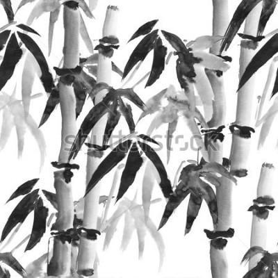 Fototapet bläck är upplöst mon bambu i japansk stil på en vit bakgrund