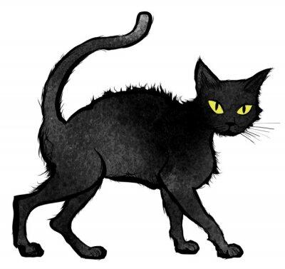 Fototapet Black Cat promenader och tittar in i kameran