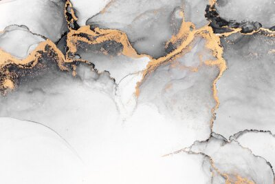 Fototapet Black gold abstract background of marble liquid ink art painting on paper . Image of original artwork watercolor alcohol ink paint on high quality paper texture .