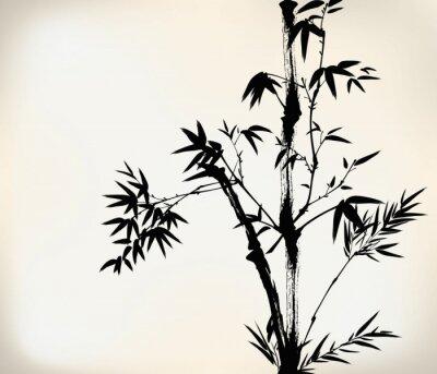 Fototapet bläck målade bambu