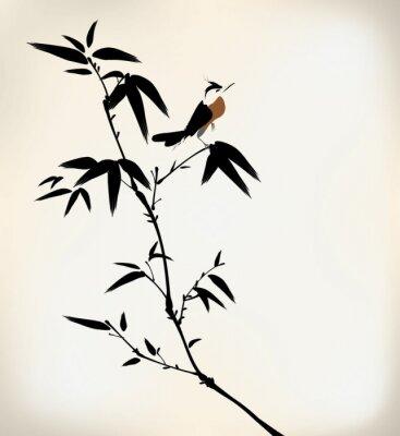 Fototapet bläck målade bambu och fågel