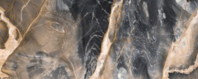 Fototapet Black marble texture background with golden veins, Black marble natural pattern for background, Abstract black white and gold, Black and yellow marble for ceramic wall and floor tiles.