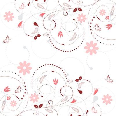 Fototapet Blommig vektor bakgrund med vintage blommönster och fjärilar.