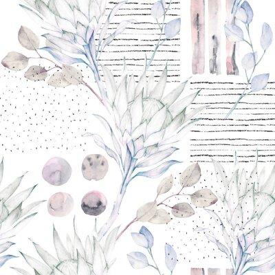 Fototapet Blommigt sömlöst mönster. Abstrakt vattenfärg illustration. Grunge bakgrund