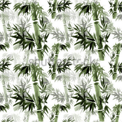 Fototapet Blommigt sömlöst mönster. Rostret av bambu jag hitta. Östlig traditionell konst, akvarell, bläck, borstfri.
