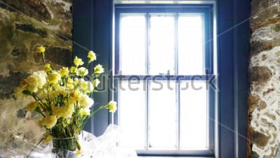 Fototapet Blommor nära fönstret