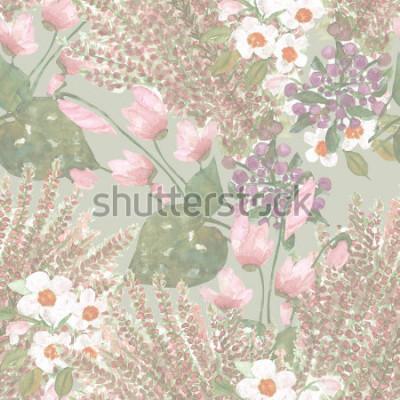 Fototapet Blommor sömlöst mönster