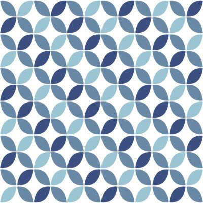Fototapet Blue geometriska Retro sömlösa mönster