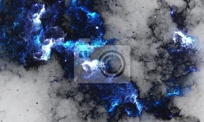 Fototapet BlueNebula - Digital abstrakt målning av en galax med stjärnor i rymden