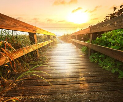 Fototapet Boardwalk på stranden