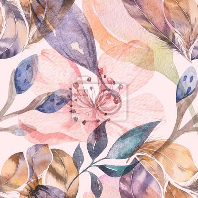 Fototapet Boho sömlösa vattenfärg mönster av fjädrar och vilda blommor, löv, grenar blommor, illustration, kärlek och fjädrar, bohemisk dekoration vårblomma