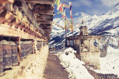 Fototapet Bön hjul i hög Himalaya Mountains, Nepal by, turism destination