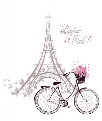 Fototapet Bonjour Paris text med Eiffeltornet och cykel