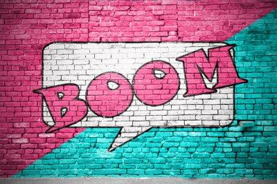 Fototapet Boom tecknad Brick Wall graffiti