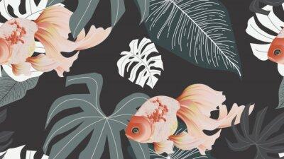Fototapet Botanical seamless pattern, pink lotus flowers and goldfish on dark grey background, pastel vintage style